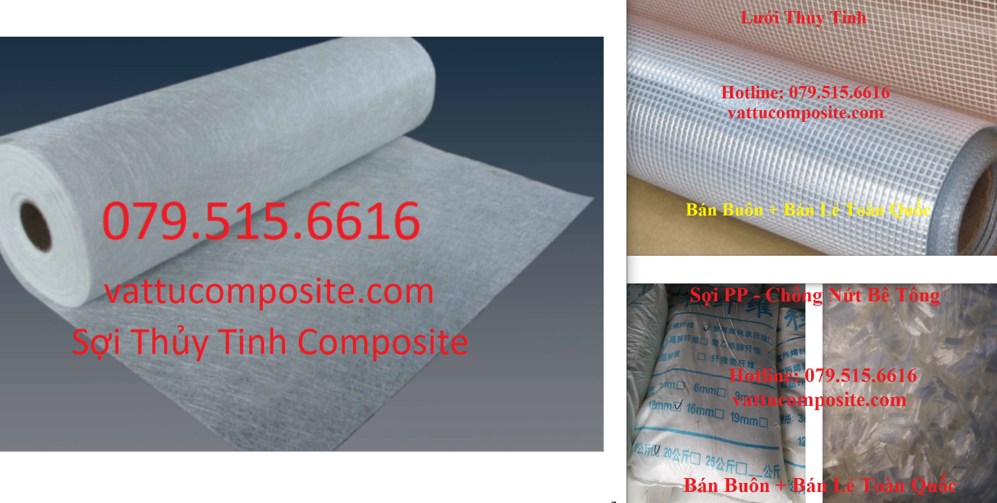 Sợi Thủy Tinh Composite, Vải Thủy Tinh, Lưới Thủy Tinh, Sợi PP, Sợi Tổng Hợp Polypropylene